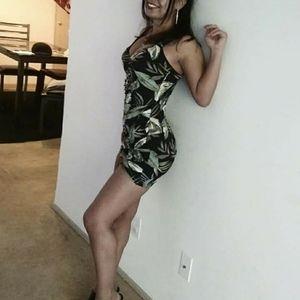 Sexy Ruched Leaf-Print Dress